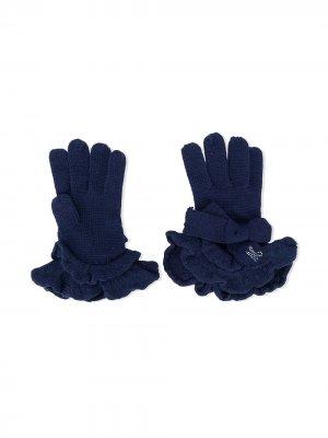 Перчатки с оборками Monnalisa. Цвет: синий