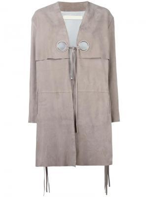 Кожаное пальто Dove Drome. Цвет: нейтральные цвета