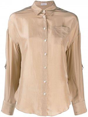 Классическая рубашка Brunello Cucinelli. Цвет: бежевый