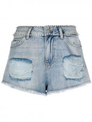 Джинсовые шорты с эффектом потертости Twin-Set. Цвет: синий