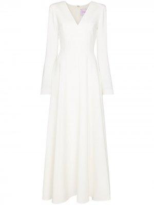 Платье макси с длинными рукавами Carolina Herrera. Цвет: белый
