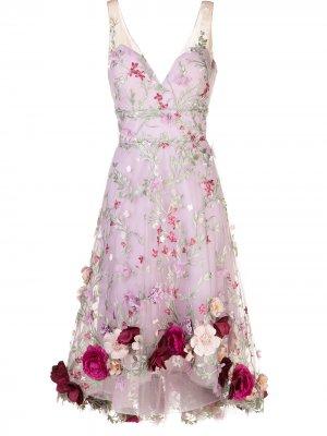 Платье без рукавов с цветочной аппликацией Marchesa Notte. Цвет: фиолетовый