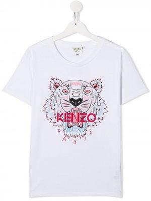 Футболка с принтом Tiger Kenzo Kids. Цвет: белый