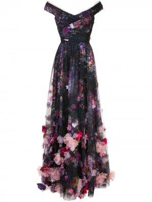 Вечернее платье макси с цветочным принтом Marchesa Notte. Цвет: черный