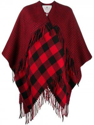 Пальто в клетку с лацканами-шалькой и бахромой Woolrich. Цвет: красный