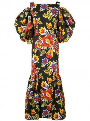 Платье с открытыми плечами и цветочным принтом Carolina Herrera. Цвет: черный
