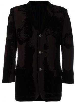 Бархатный пиджак с выгоревшим эффектом Jean Paul Gaultier Vintage. Цвет: черный