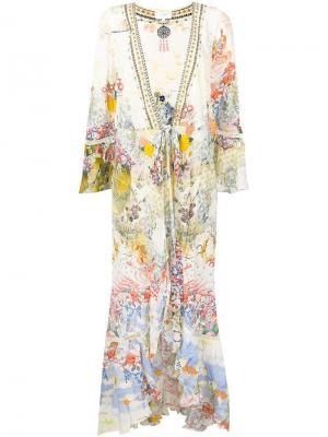 Удлиненное пальто с цветочным принтом Camilla. Цвет: нейтральные цвета