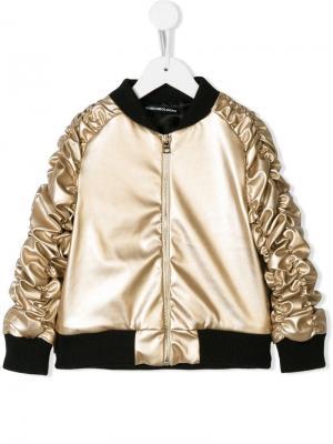 Куртка-бомбер с присборенными рукавами Marco Bologna Kids. Цвет: металлик