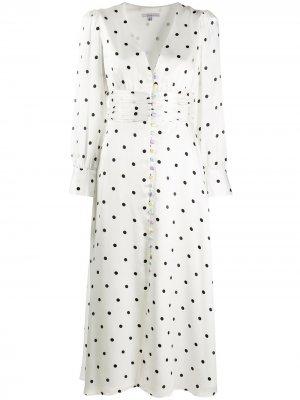 Расклешенное платье в горох Olivia Rubin. Цвет: белый