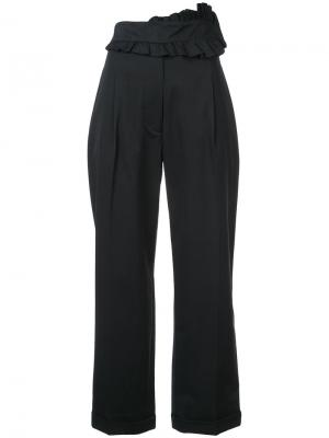 Укороченные брюки с оборками на поясе Carven. Цвет: черный