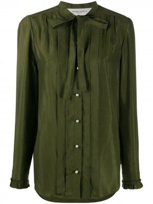 Рубашка на пуговицах с завязками Golden Goose. Цвет: зеленый