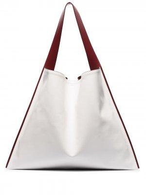 Объемная сумка-тоут с контрастными вставками Jil Sander. Цвет: белый