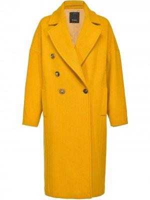 Пальто прямого кроя Pinko. Цвет: желтый