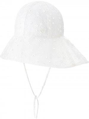 Панама Julianne с вышивкой Maison Michel. Цвет: белый