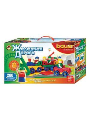 Конструктор Bauer серии Железная дорога 200 эл. (в коробке) 12/12. Цвет: зеленый