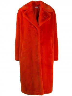 Шуба оверсайз из искусственного меха P.A.R.O.S.H.. Цвет: оранжевый