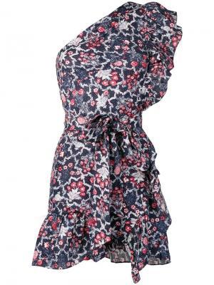 Платье мини с оборками Isabel Marant Étoile. Цвет: синий