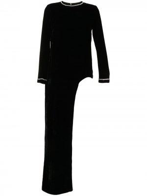 Блузка с кристаллами Semsem. Цвет: черный