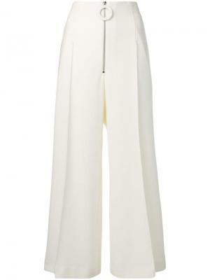 Укороченные брюки клеш Maison Flaneur. Цвет: белый