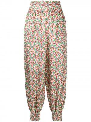 Укороченные брюки в пижамном стиле с принтом Tory Burch. Цвет: белый