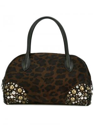 Декорированная сумка с леопардовым принтом Alaïa Vintage. Цвет: коричневый