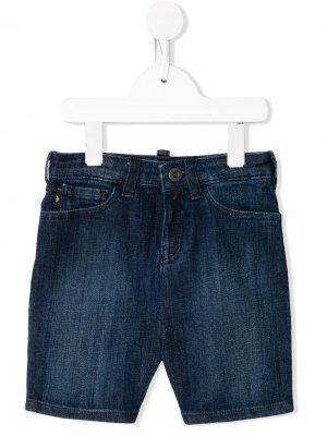 Джинсовые шорты с логотипом Emporio Armani Kids. Цвет: синий