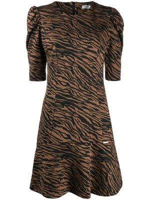 Платье с принтом и расклешенным подолом LIU JO. Цвет: черный