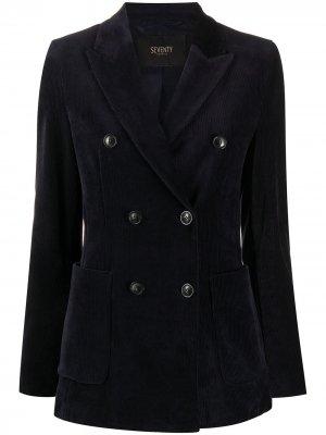 Двубортный вельветовый пиджак Seventy. Цвет: синий