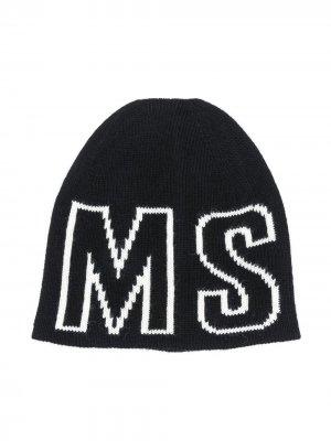 Трикотажная шапка с логотипом Msgm Kids. Цвет: черный