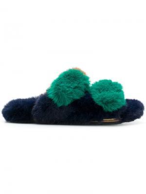 Faux fur flat sandals Suecomma Bonnie. Цвет: зеленый
