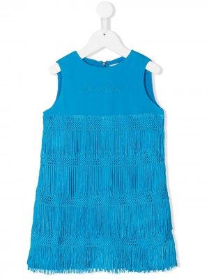 Платье мини с бахромой Alberta Ferretti Kids. Цвет: синий