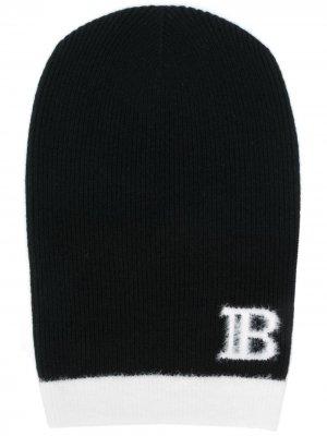 Шапка бини с логотипом Balmain. Цвет: черный