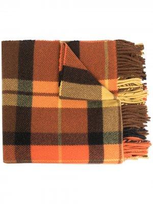 Клетчатый шарф с логотипом Acne Studios. Цвет: оранжевый