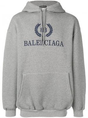 Толстовка с капюшоном и логотипом Balenciaga. Цвет: серый