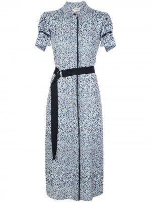 Платье-рубашка с поясом и укороченными рукавами-кап Jason Wu. Цвет: белый