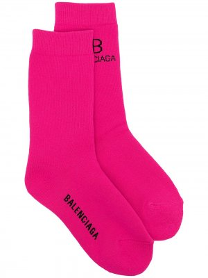 Носки вязки интарсия с логотипом Balenciaga. Цвет: розовый