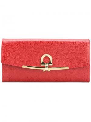 Gancio lock continental wallet Salvatore Ferragamo. Цвет: красный