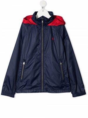 Куртка на молнии с логотипом Pony Ralph Lauren Kids. Цвет: синий