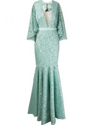 Marescot lace Kika gown Martha Medeiros. Цвет: синий