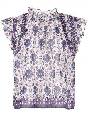 Блузка Brigitte с принтом Sea. Цвет: фиолетовый