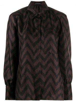 Блузка с принтом Luisa Cerano. Цвет: коричневый