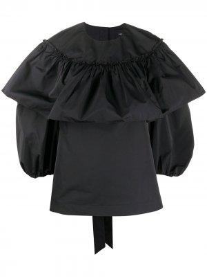 Блузка с пышными рукавами и оборками Simone Rocha. Цвет: черный