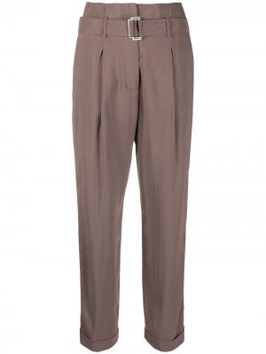 Зауженные брюки с поясом Peserico. Цвет: серый