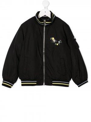 Бомбер с цветочной вышивкой Givenchy Kids. Цвет: черный