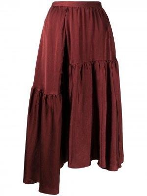 Ярусная юбка асимметричного кроя Rochas. Цвет: красный