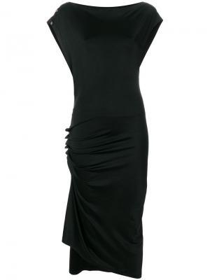 Асимметричное платье с присборенными деталями Paco Rabanne. Цвет: черный