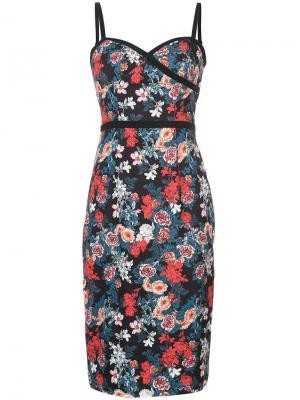Приталенное платье с принтом роз Black Halo. Цвет: чёрный