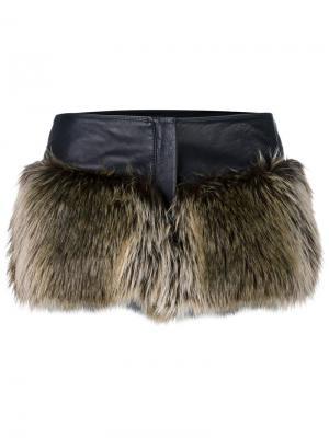 Шорты с искусственным мехом Chanel Vintage. Цвет: коричневый