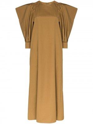 Платье миди с пышными рукавами Givenchy. Цвет: коричневый